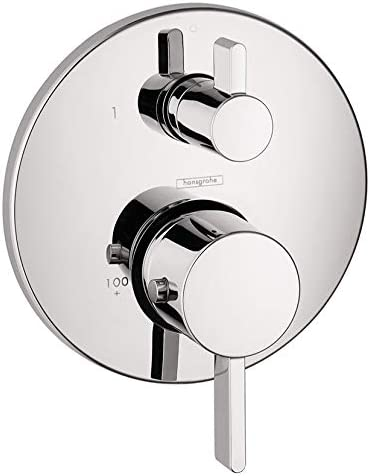 new arrival hansgrohe high quality Ecostat Modern Premium Volume and Auto Temperature Control online sale 2-Handle 7-inch Wide Thermostatic Shower Trim for Rough-in Valve in Brushed Nickel, 04230820 outlet sale
