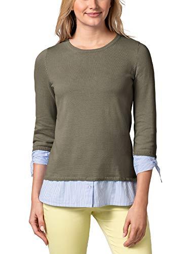 Walbusch Damen Blusenshirt 2 in 1 einfarbig Khaki 36