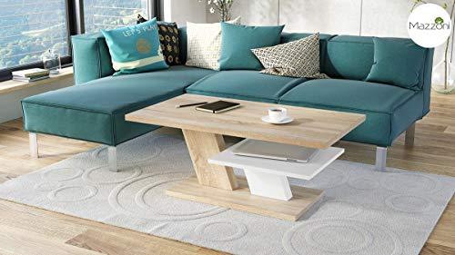 Mazzoni Design Couchtisch Tisch Cliff Wohnzimmertisch 110x60x45cm mit Ablagefläche (Sonoma Eiche/Weiß matt)