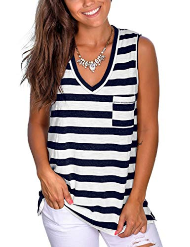 NSQTBA Tank Tops for Women Loose Fitting Black and White Striped Shirt Women L