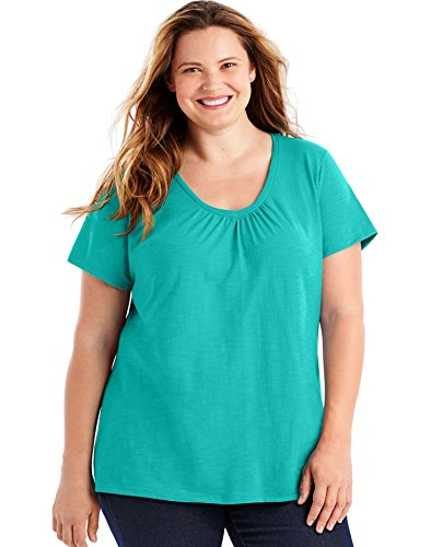 Just My Size Women's Short Sleeve Shirred V-Neck Tee, Eco Teal, 5X