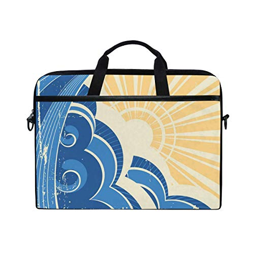 Laptop Sleeve Case,Laptop Bag,Blue Ocean Wave Water Briefcase Messenger Notebook Computer Bag with Shoulder Strap Handle,29×40 CM/15.6 Inch