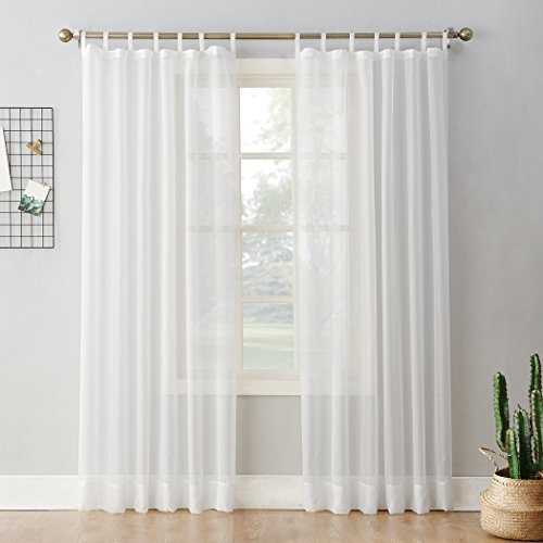 "No. 918 52454 Emily Sheer Voile Tab Top Curtain Panel, 59"" x 84"", White"