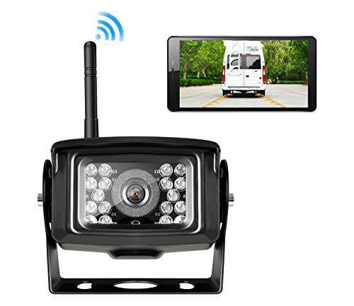 ZEROXCLUB Wireless Phone Backup Camera for Truck RV Camper Trailer WiFi App IP69 Waterproof Rear View Camera, Work on iPhone iPad Android and More Smertphone (WIFI01)
