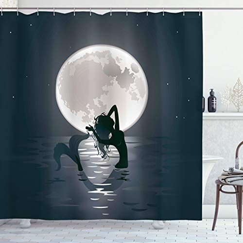 Ambesonne Underwater Shower Curtain, Mermaid Singing at Night Silhouette Full Moon Rays Mythical Ornament Art Print, Cloth Fabric Bathroom Decor Set with Hooks, 70' Long, Dark Grey