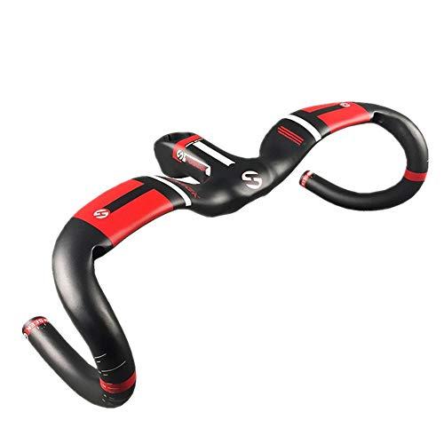 ZHJC Fahrrad Lenker Carbon-Faser-Fahrrad-Lenker Rennrad Lenker 31.8mm Windschutz Lenker 1K Frosted Curved Lever Fahrradlenker Fahrradzubehör (Farbe : Rot, Size : 90mm)