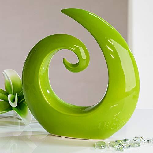 Mel O Design Moderna e Bella Scultura in Ceramica in Verde Altezza 18 cm Larghezza 18,5 cm