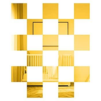 MicButty Mirror Wall Stickers Square 15 Pieces Mirror Sheets Wall Sticker Decal Self Adhesive Non Glass Mirror Tiles Wall Sticky Mirror for Home Living Room Bedroom Decoration Gold 6 X 6 Inch