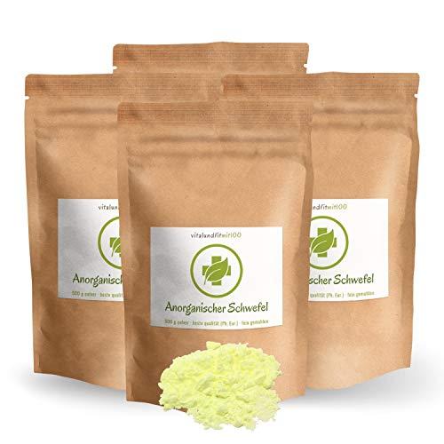 2 kg ANORGANISCHER Schwefel (4 x 500 g) - BESTSELLER – Reinheit mind. 99,9% - beste Qualität aus DEUTSCHLAND- SULFUR - aus Naturrohstoff - fein gemahlen - säurearm - Schwefelpulver OHNE Zusatzstoffe