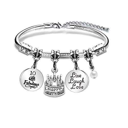 ACAROMAY Birthday Charm Bracelets for Women Girls Birthday Gifts for Her Christmas New Year Ages 10 to 70 (10)