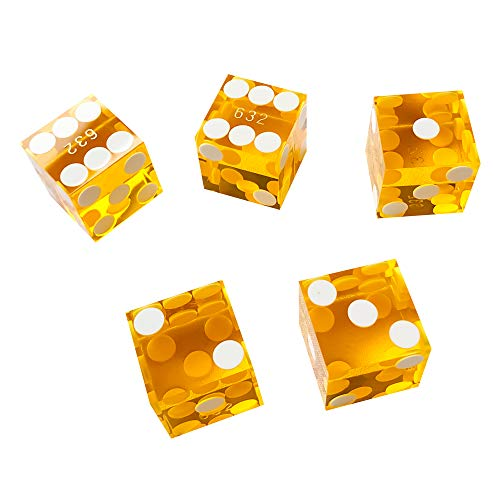 Yuanhe Set of 5 Grade AAA Precision 19mm Serialized Casino dice with Razor Edges and Corners - Yellow ¡­