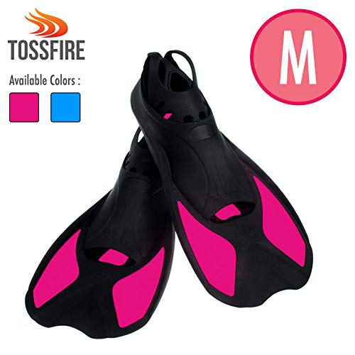 Comfecto Flippers Fins Short Floating Training Swimming Fins Adults for Size M Width Ankle 2.9 Inch with Thermoplastic Rubber for Diving Swimming Scuba Snorkeling and Watersports, Rose Red