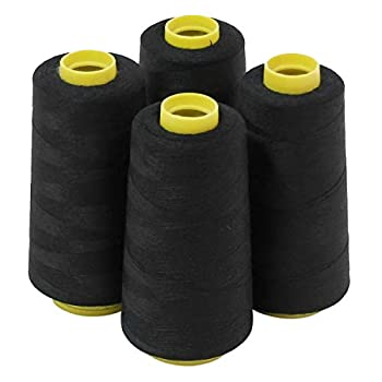 4 Large Cones  3000 Yards Each  of Polyester Threads for Sewing Quilting Serger Black Color from ThreadNanny
