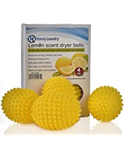 レモンの香り付きドライヤーボール – 自然でより良い代替品。柔軟剤。 乾燥時間を減らし、エネルギーを節約します。 洗濯物は柔らかく、ふわふわで、洗濯物をフレッシュに保ちます。 (4パック)。