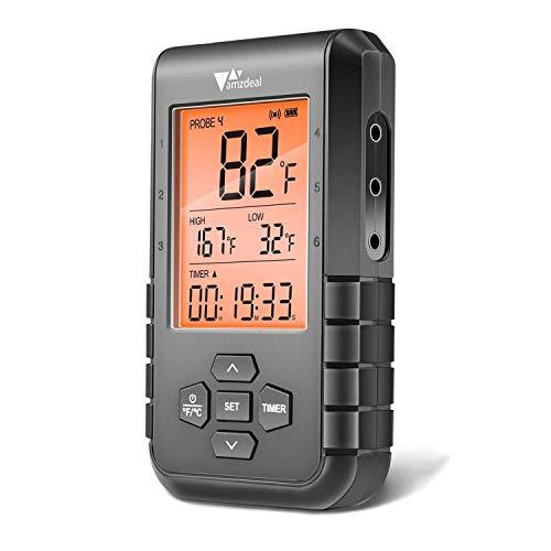 Amzdeal Termometro per Barbecue Wireless, con 6 sonde e Bluetooth 5.0, Termometro per Carne, Allarme e Timer, Lettura Rapida e Precisa, Controllo Tramite APP, per Barbecue, Forno, Latte