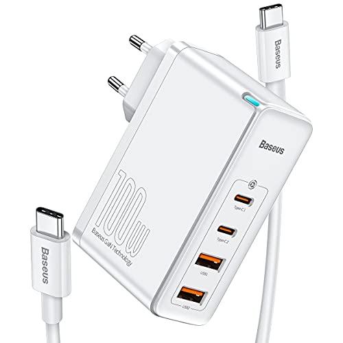 Baseus Cargador USB 100W, GAN Tech Cargador Rapido de Pared con 4-Port Type C Cargador USB-C para portátiles compatible con Huawei