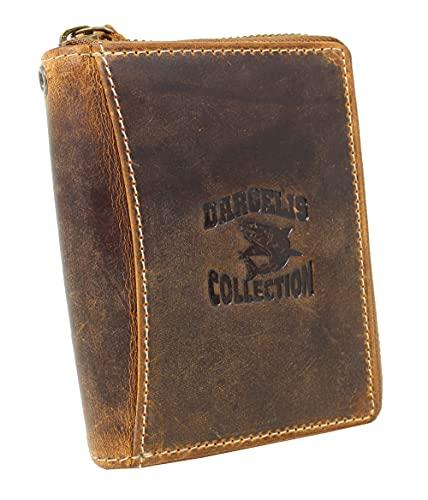 Leder Börse mit Reißverschluss Portemonnaie Geldbörse Geldbeutel Damen Herren handpolierte Oberfläche 991ZHP Tan