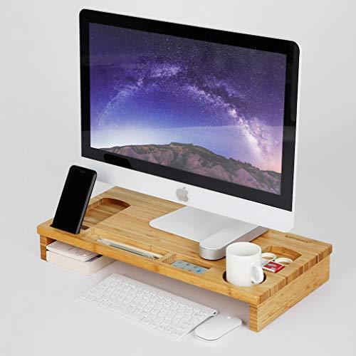 Monitorstandaard van bamboe hout - Monitor/Laptop beeldscherm verhoger en bureau organizer -Met vakje voor telefoon, beker en pennenbak - Decopatent