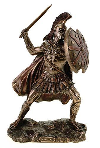 Veronese Figur des Achilles 25 cm bronziert handbemalt Troja Griechenland Heerführer Hektor