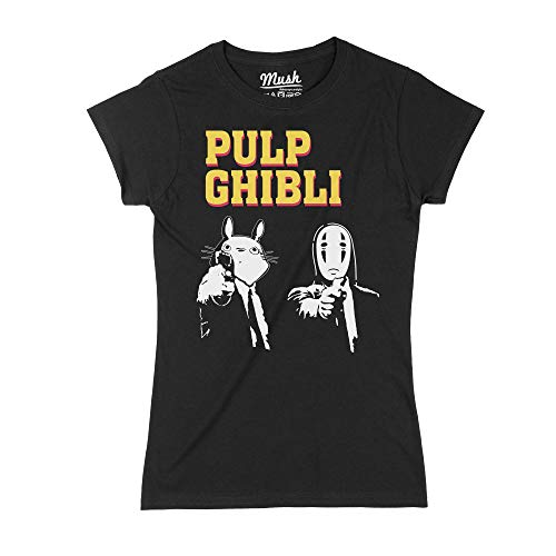 MUSH T-Shirt Studio Ghibli Versione Pulp Fiction - Film by Dress Your Style - Donna-M-Nera