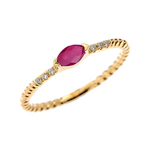 10k Yellow Gold Dainty Diamond and Marquise Ruby Rope Design Stackable/Proposal Ring (Size 6)