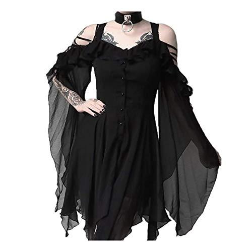 Gothic Kleid Damen Steampunk Kleid Chiffon Kleid Schulterfrei Lange Ärmel Unregelmäßig Mittelalter Kleidung Viktorianisch Kostüm Magic Hexenkostüm Weihnachten Cosplay