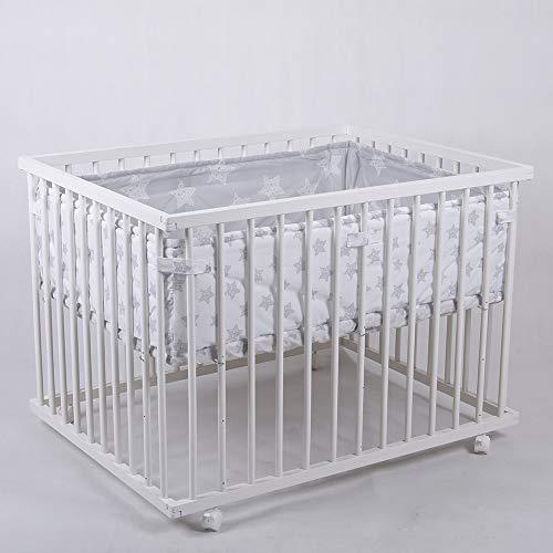 Laufgitter Babylaufgitter Laufstall 100x75cm Komplettset Babylaufstall 3-fach höhenverstellbar WEISS 53518W-D02