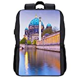 Travel Laptop Backpack,Berlin Cathedral The Berliner Dom,Business Anti Theft Computer Bag Slim Durable with USB Charging Port