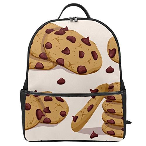 Mochila de lona con chip de chocolate para la escuela, mochila de lona de gran capacidad, mochila de viaje casual para niños, niñas, niños y estudiantes