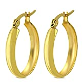 Pendientes de acero inoxidable dorado – Pendientes de aro – 19 mm