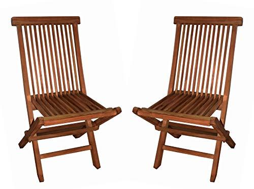 Mediablue 2er Set Klappstuhl Teakstuhl Gartenstuhl Teak Holz Stuhl für Terrasse Wintergarten Balkon witterungsbeständig behandelt massiv klappbar Natur