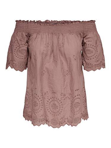 ONLY Damen Onlnew SHERY EMB ANG Off Shoulde DNM TOP Bluse, Braun (Burlwood Burlwood), Medium (Herstellergröße: 38)