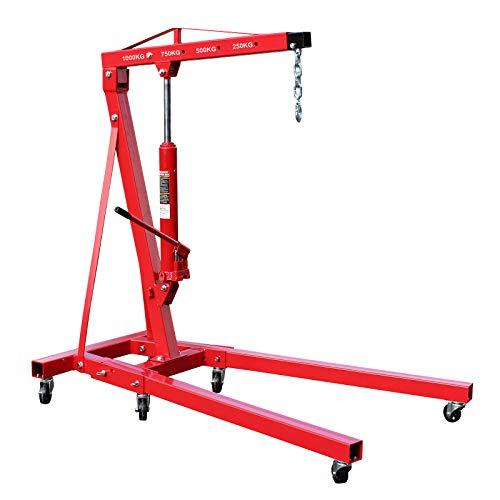 Grúa de taller plegable 1000kg Grúa elevación de cargas Elevar motores Brazo elevación 960-1240 mm 🔥