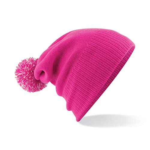 Beechfield B450BFUS-OWH Snowstar Bonnet Mixte, Fuchsia/Off White, Taille Unique