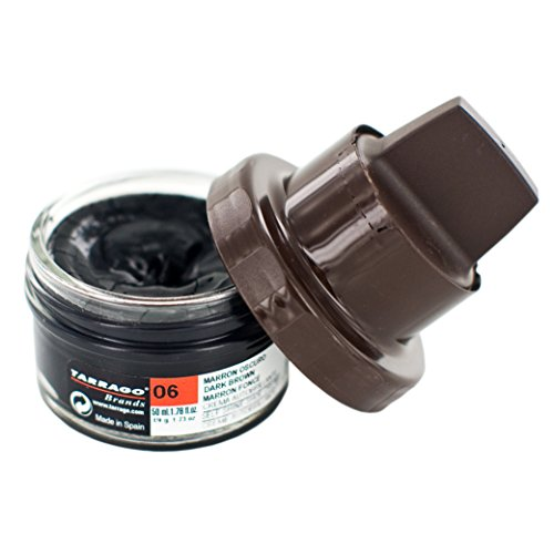 Tarrago | Kit Crema Self Shine 50 ml | Crema nutriente di cere naturali per lucidare la pelle, la pelle liscia, le calzature naturali o sintetiche | Con applicatore in spugna (Dark Brown 06)