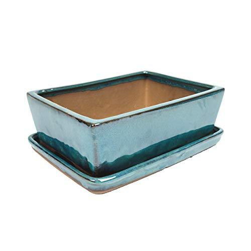 1x Keramik Bonsaischale - TÜRKIS 18 x 14 x 6 cm - hochwertiger Blumentopf mit Unterteller/Schale - geflammt für drinnen und draussen, eckig - Indoor/Outdoor