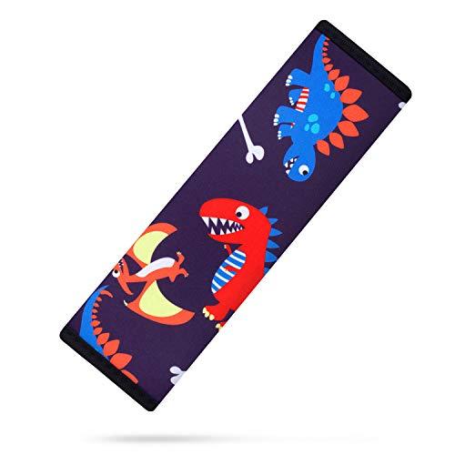 AMUSEPROFI Gurtpolster für Kinder, Gurtschoner, Schulterpolster, passend für Auto und Rucksack, Autozubehör mit süßer Muster für Mädchen, 1 Stück, Dinosaurier