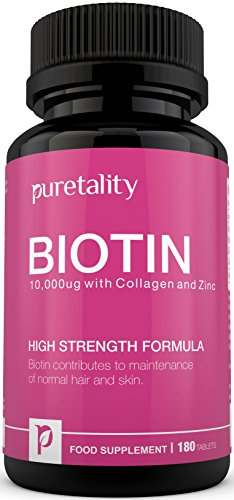 Biotin Hair Growth Supplement with Collagen, Zinc and Vitamin C, 180 Tablets (Full Year Supply) Unique High Strength Biotin 10,000 mcg with Added Collagen, Zinc and Vitamin C, Vitamin B7 Contributes to Healthy Hair, Nails & Skin - Double Strength of 5000 MCG competitors