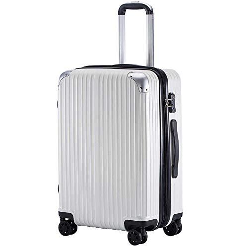 (TTOバリジェリア)TTOVALIGERIA スーツケース Sサイズ機内持ち込み キャリーケース キャリーバッグ 容量拡張 軽量 静音 TSAロック搭載 ファスナータイプ 大型 (Sサイズ ホワイト)