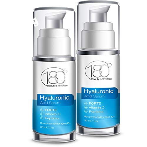 Hyaluronic Acid Serum w. Peptides + Vitamins C & E - Extra Strong - Ages 40 to 50 - Improved Tone & Elasticity - Concentrated Facial Serum for Plumper Smoother Skin - 180 Cosmetics - 2 Units of 1 oz