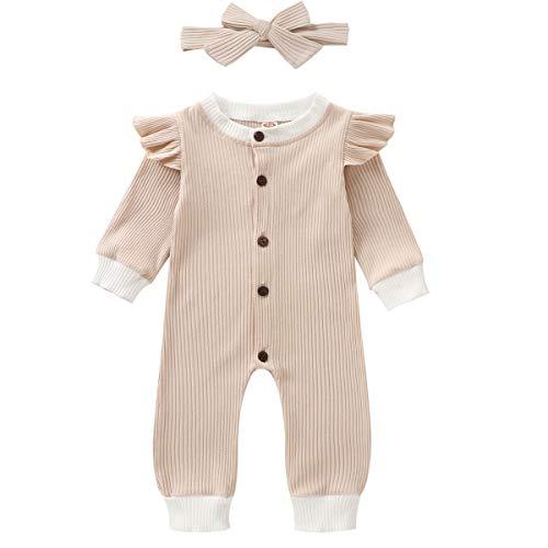 Mono de manga larga para recién nacido, color sólido, conjunto de ropa de otoño Beige beige 0-6 Meses