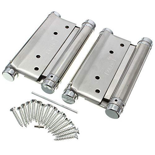 Industrial Hardware Un par de bisagras de doble acción de resorte de 12,7 cm para puerta de café, salón, bisagra de puerta libre