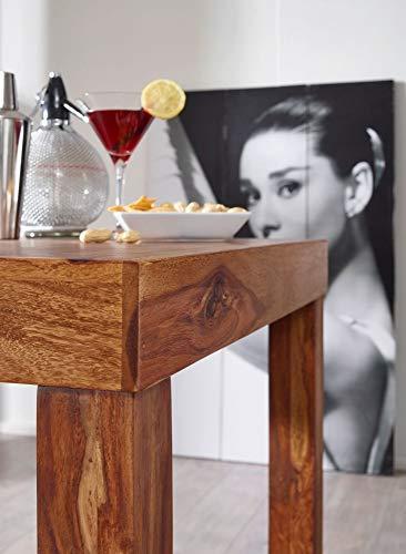 FineBuy Bartisch Massivholz Sheesham 80 x 80 x 110 cm Bistro-Tisch modern Landhaus-Stil Holz-Steh-Tisch quadratisch dunkel-braun Natur-Produkt Massiv-Holz-Möbel Hausbar Esstisch Echt-Holz unbehandelt - 6