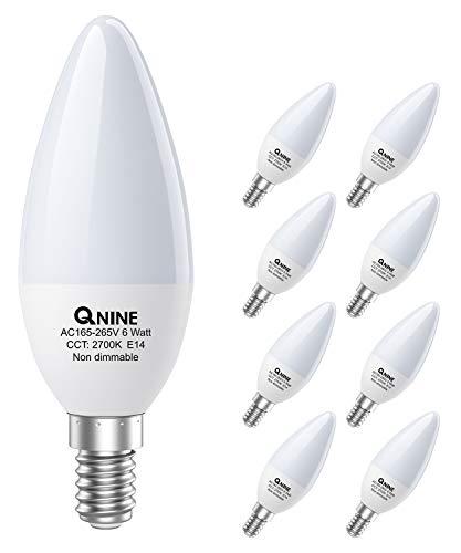 QNINE E14 LED Warmweiss Kerzenform, 8 Stück Leuchtmittel 2700K, 6W(ersetzt 40W-50W Glühbirne), Ersatz für Energiesparlampe, 540 Lumen, Nicht Dimmbar, LED Kerzen-Lampen/ Birnen [Energieklasse A+]
