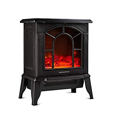 Freestanding Portable Electric Stove Heater - 1800W Fireplace with Wood Log Burning Flame Effect - Adjustable Thermostat & Overheat Protection - Black