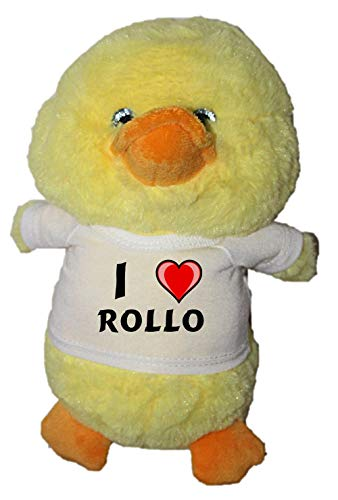 SHOPZEUS Plüschente mit T-Shirt mit Aufschrift Ich Liebe Rollo (Vorname/Zuname/Spitzname)