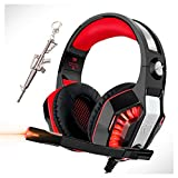 Pro Stereo Gaming Headset for PS4 Xbox One PC, All-Cover Over Ear Headphones Deep Bass Surround Sound with360° Noise Canceling Mic & LED Light for Nintendo Switch Mac Laptop -  byc