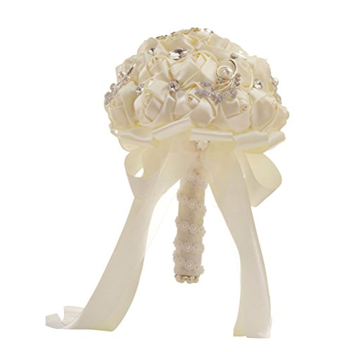 LUOEM Sposa Bouquet da Sposa Damigella d'Onore Toss Bouquet Nastro di Raso Bouquet da Sposa Fiori Artificiali per Matrimoni, Fidanzamento Decorazione di San Valentino (Beige)