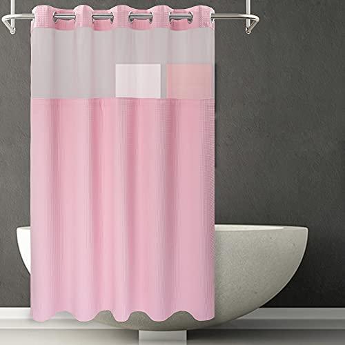 River dream Duschvorhang aus Waffelgewebe, keine Haken erforderlich, Baumwoll-Mischgewebe, mit Snap-In-Auskleidung, Hotelqualität, wasserabweisend, maschinenwaschbar, 71 x 74 cm, Candy Pink