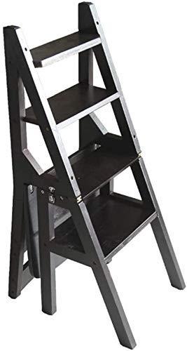 FTFTO Productos para el hogar Escalera Plegable Escaleras Taburete Silla de Madera Maciza Multifunción Uso Dual 4 Pasos Zapatero Soporte para Flores J6T8D3 (Color: Color Nogal Oscuro)